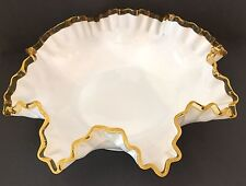 Fenton Large Gold Crest Bowl, Double Crimped Rim, 1943-1945