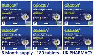Cetirizine Hydrochloride 10mg - 6 Packs Hayfever Relief - UK Pharmacy