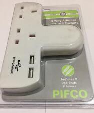 Brand NEW PIFCO 2 Vie Gang Estensione Adattatore con 2 porte USB di Ricarica port-ela1153