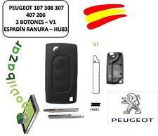 LLAVE CARCASA PEUGEOT 107 308 307 407 206 V1 LUZ HU83 - 3 BOTONES ESPADIN RANURA