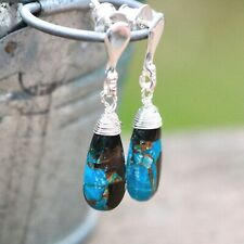 Natural Obsidian Turquoise Wire Wrapped Earrings Sterling Silver Studs 925