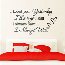 I Love You Quote Decal Vinyl DIY Home BedRoom Decor Art Wall Stickers Removable