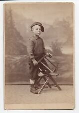 1890s Studio Cabinet Photo of young Boy holding Saw San Francisco CA