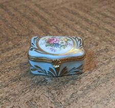 New ListingLimoges France - Antique Floral Hinged Trinket Box, Light Green and Gold