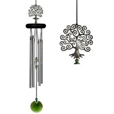 Wind Chime Tree of Life by Woodstock with Green Glass Wind Catcher