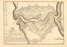 Brest. plan de ville et fortifications. finistère. de fer 1705 old map