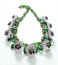 Vintage Pink Flowers Green Leaves Lampwork Art Glass Bead Necklace Jl20Bn49