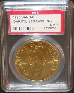 PSA 7 NM 7 - Darryl Strawberry New York Mets 1990 Bandai Brass Baseball Coin