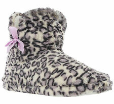 Luxury Bootee Leopard Print Bow Soft Textile Slip On Womens Slippers
