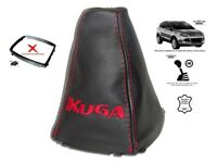 Gear Stick Gaiter For Ford Kuga II 2012-2019 Leather Red Embroidery