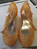 Women's Hot Gossip Orange Sparkly Jelly Wedge Heels Shoes Size 6