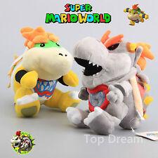 "2X Super Mario Bros Plush Dry Bones Bowser JR Koopa Soft Stuffed Toy Doll 7"" NWT"