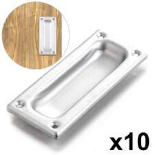 10 x FLUSH RECESSED SLIDE HANDLE 90mm Inset Silver Wardrobe Cabinet Bedroom Door