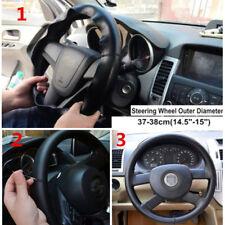 "Durable Luxury Genuine Leather Car Steering Wheel Cover Black 38cm 14.5""-15"""