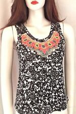 River Island Beaded Women's Top Embellished Monochrome Tribal Aztec Lace Back 6