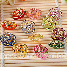 50PCS Mixed Color Bronzing Acrylic Rose Flower Button Craft Decoration 13mm
