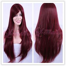 Beautiful wine Red Long Natural Wavy Charms Fashion Ladies Hair Wig C30-B+A cap