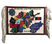 "RARE HANDMADE MINIATURE WOOL SILK RUG AFGHANISTAN AFGHAN MAP 23"" x 17"" NEW COND"