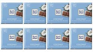 Ritter Sport Coconut Chocolate Bar 8 x 100g German Choc Slab