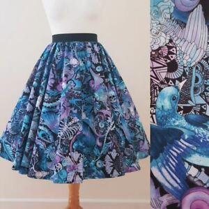 1950s Circle Skirt Lilac Filigree All Sizes Skulls Halloween Butterfly Bird Moth