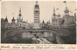 Lake of Shooting the Chutes, Luna Park, Coney Island NY Postcard Amusement Park