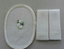 Dollhouse Miniature Handcrafted White Lace trim bath set 2 towels & 1 oval rug