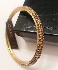 CAROLEE...Bangle. Pave TriColor Faceted Amber crystals. Polished Goldtone. NWT.