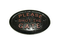 """RED """"PLEASE SHUT THE GATE"""" - GARDEN/ WALL PLAQUE / SIGN - NEW"""