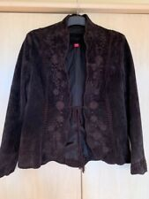 MONSOON SUEDE CHOCOLATE BROWN SKIRT UK 12 AND JACKET UK 14 GREAT CONDITION