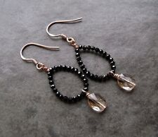 BLACK SPINEL AND CRYSTAL ROSE GOLD STERLING SILVER HOOP EARRINGS- FREE POSTAGE
