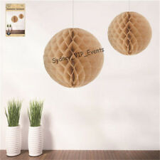 NATURAL BROWN HANGING HONEYCOMB 29CM PARTY SUPPLIES BIRTHDAY VINTAGE SHABBY CHIC