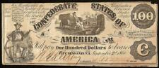1861 $100 DOLLAR CONFEDERATE STATES CURRENCY CIVIL WAR NOTE PAPER MONEY T-13