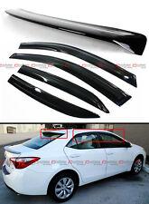 FOR 2014-19 Toyota Corolla 3D Wavy Window Visor + Rear Roof Spoiler Visor Combo