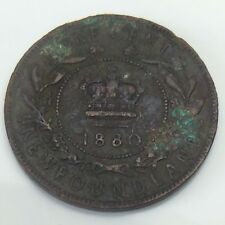 1880 Round 0 Newfoundland Canada One 1 Large Cent Copper Penny Coin F322