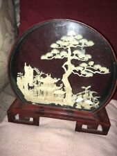Chinese Cased Diorama,A Fine Example Delicate Dwellings,Herons & Trees