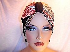 "Chemo Turban Hat Sueded Knit Black Red Tan Grey Swirls ""Something4you"" Alopecia"