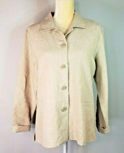 NWT GEOFFREY BEENE SPORT 100% Linen Tan Jacket Blazer size 10 Womens shirt