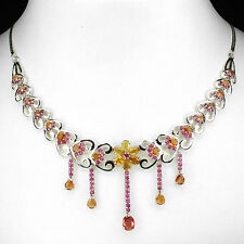 MESMERIZING!NATURAL YELLOW ORANGE SAPPHIRE-RED RUBY 925 SILVER FLORAL NECKLACE