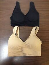 LOT OF 2 NEW GENIE STYLE 1 NUDE 1 BLACK BRA SIZE 3XL W/ REMOVABLE PADS