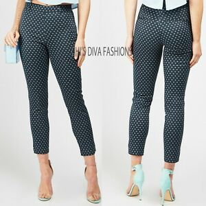 EX H&M Slacks Navy Patterned Stretchy Cigarette Trousers Pant Size UK 8-16