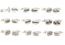 Silver Oval Groom Wedding Cufflinks Best Man Usher Pageboy Cufflink Accessories
