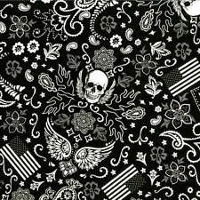 Biker Bandana Skull Wings Flag print in Black & White By The yard Fabric