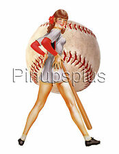 Sexy Pinup Girl Waterslide Decal Sticker Softball Sports Bat and Ball S164
