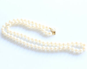 Vintage 1960s Faux Pearl Necklace with Gold Tone and Pearl Push Clasp