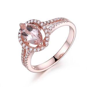 Marquise 10x5mm 1.2CT Morganite Real Diamonds 18K Rose Gold Classic Wedding Ring
