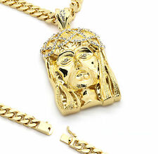 """Mens 14k Gold Plated 30"""" Heavy Thick Cuban Chain Crowned Jesus Large Pendant"""