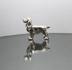 Solid Sterling Silver Spaniel Dog Figurine Full UK Hallmarks
