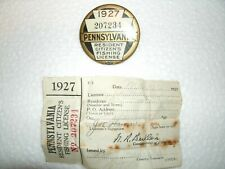 1927 pa Pennsylvania fishing license with paper work