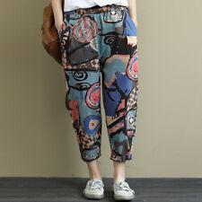ZANZEA Women Elastic Waist Graffiti Floral Pants Casual Cotton Trousers Oversize