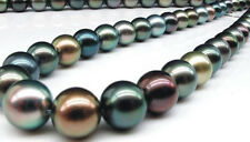 "HUGE 18""11-13MM NATURAL SOUTH SEA GENUINE MULTICOLOR PEARL NECKLACE 14K"
